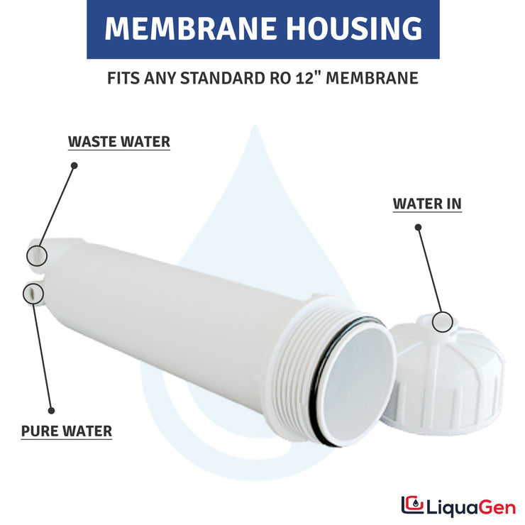 "Reverse Osmosis Membrane Housing w/FULL KIT: 1/8"" Female Connections - LiquaGen Water"