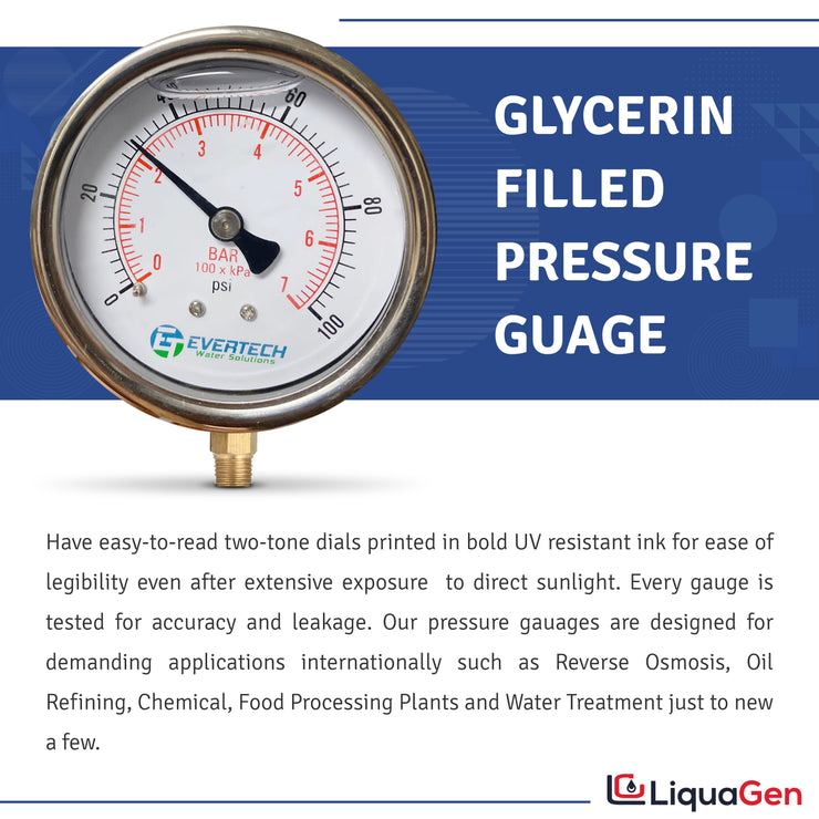Glycerin Filled Pressure Gauge (1-100 PSI) + HM Digital TDS Meter + Tube Cutter - LiquaGen Water