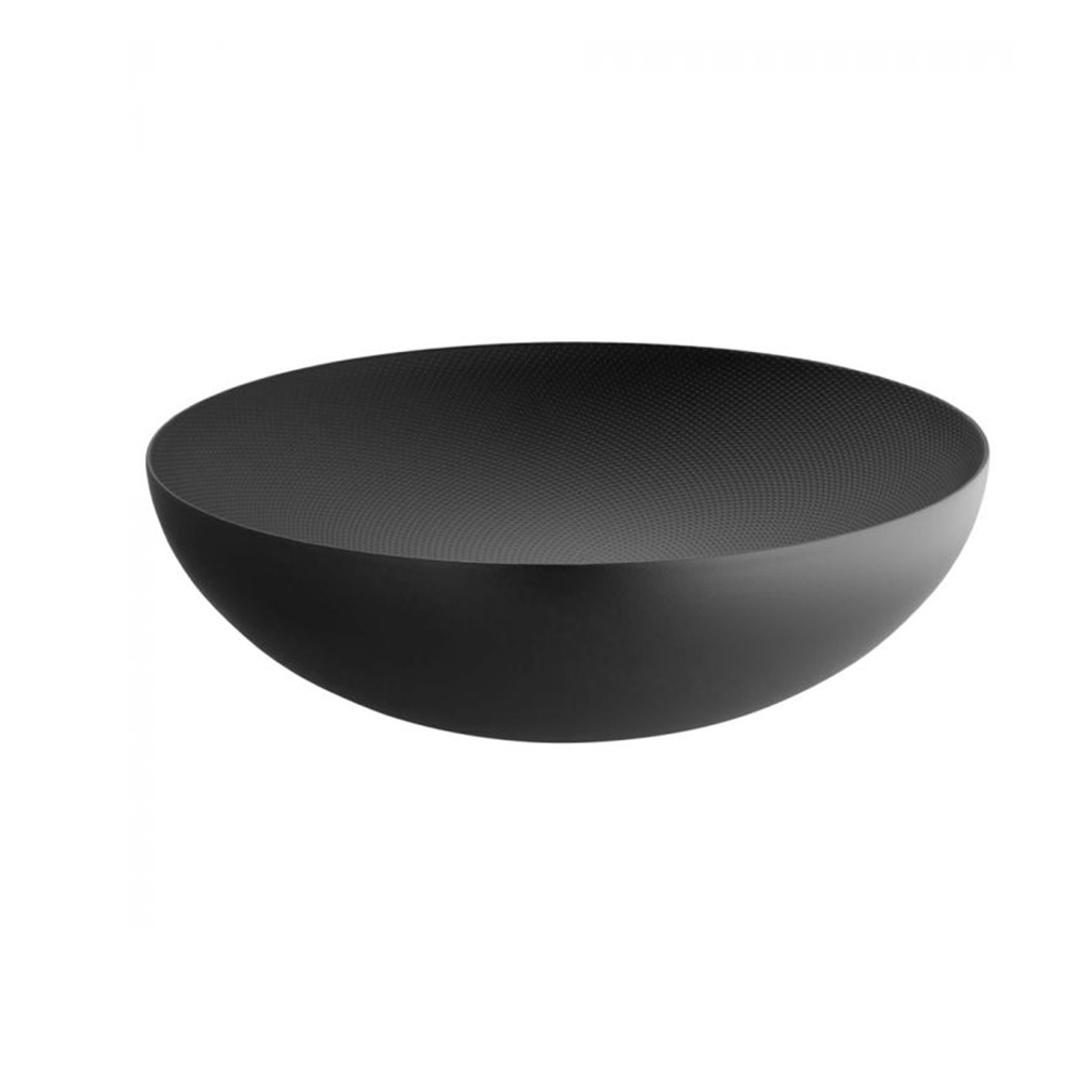 ALESSI MOIRE TEXTURED DOUBLE WALL LARGE BOWL IN BLACK