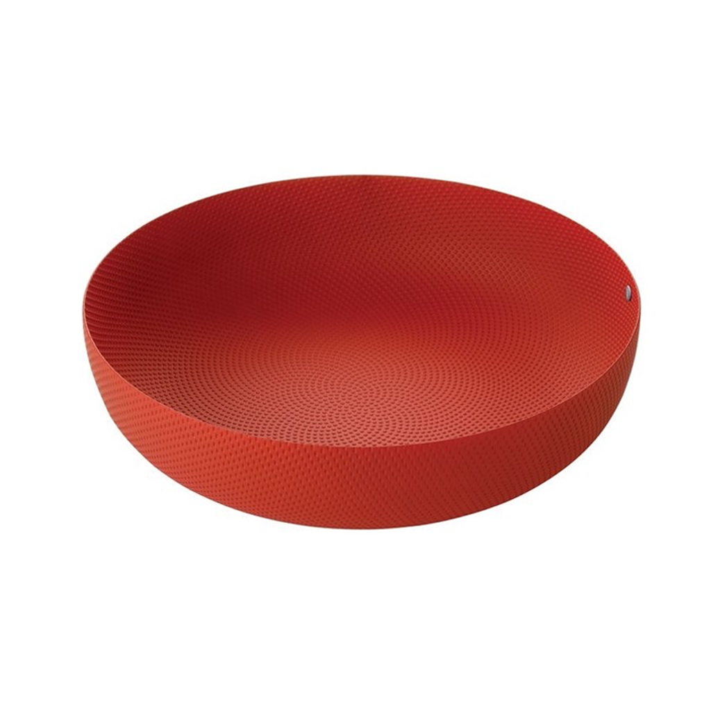 ALESSI MOIRE TEXTURED LARGE BOWL IN RED