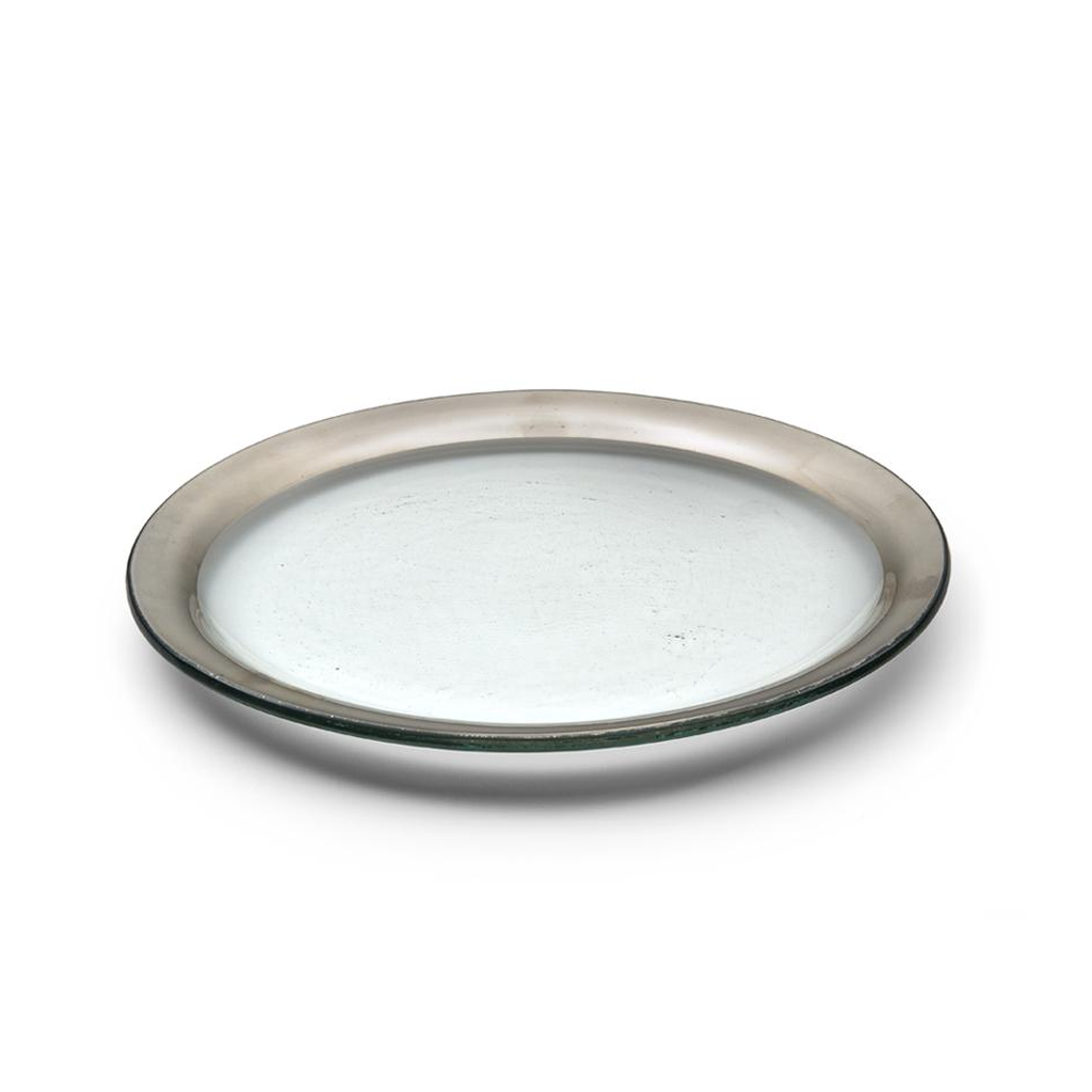 ANNIEGLASS ROMAN ANTIQUE DINNER PLATE IN PLATINUM