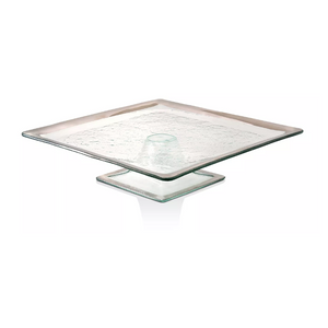 ANNIEGLASS ROMAN ANTIQUE SQUARE CAKE STAND IN PLATINUM