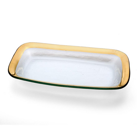 ANNIEGLASS ROMAN ANTIQUE RECTANGLE ASPARAGUS BOWL IN GOLD