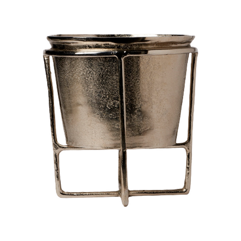 ALUMINUM SMALL WINE COOLER ON STAND IN NICKEL