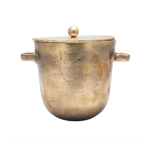 ALUMINUM ICE BUCKET IN ANTIQUE BRASS