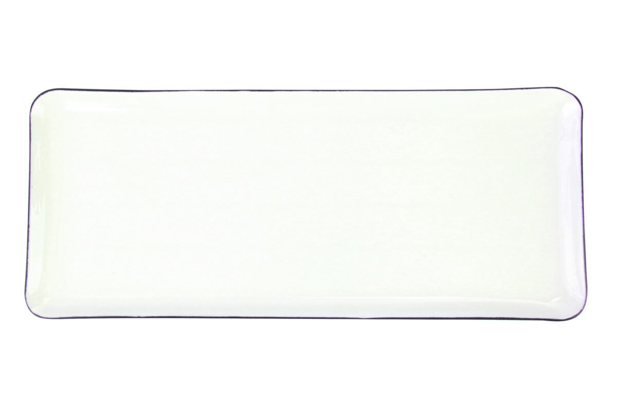 GREY AND WHITE ENAMEL LONG TRAY