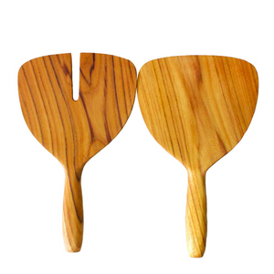 SHORT AND WIDE SALAD SERVERS IN TEAK