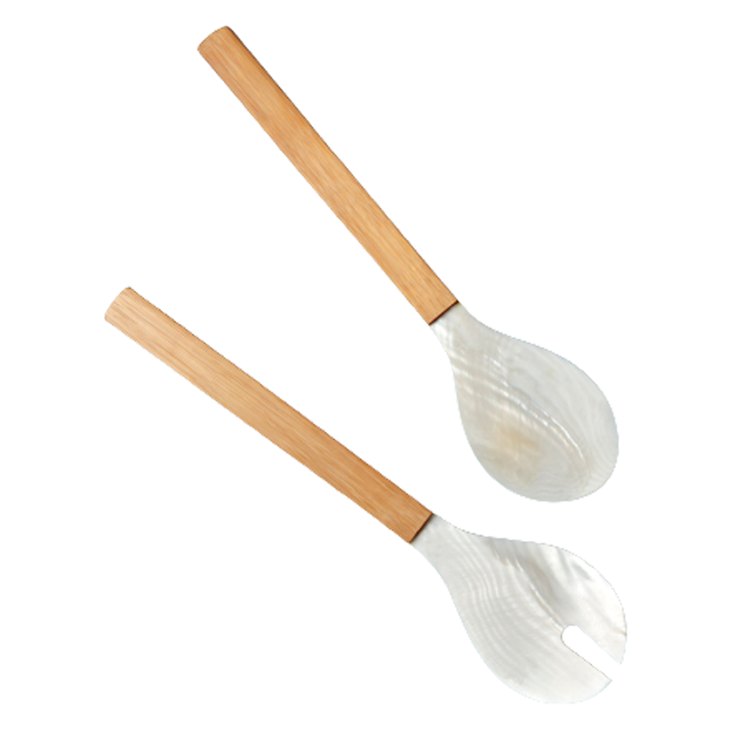 BAMBOO WOOD SERVING SET WITH SHELL