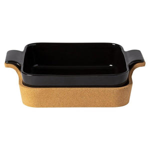 ENSEMBLE BLACK SQUARE CASSEROLE WITH CORK CRADLE