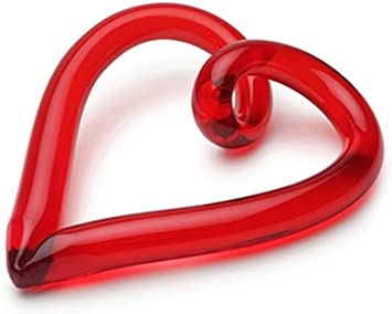 GLASS LOOP HEART IN RED