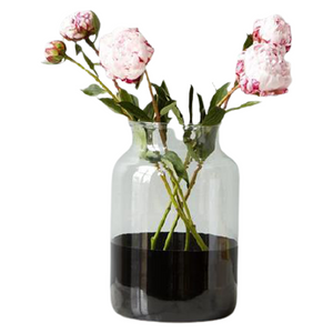 GLASS MASON JAR WITH BLACK BANDED BOTTOM