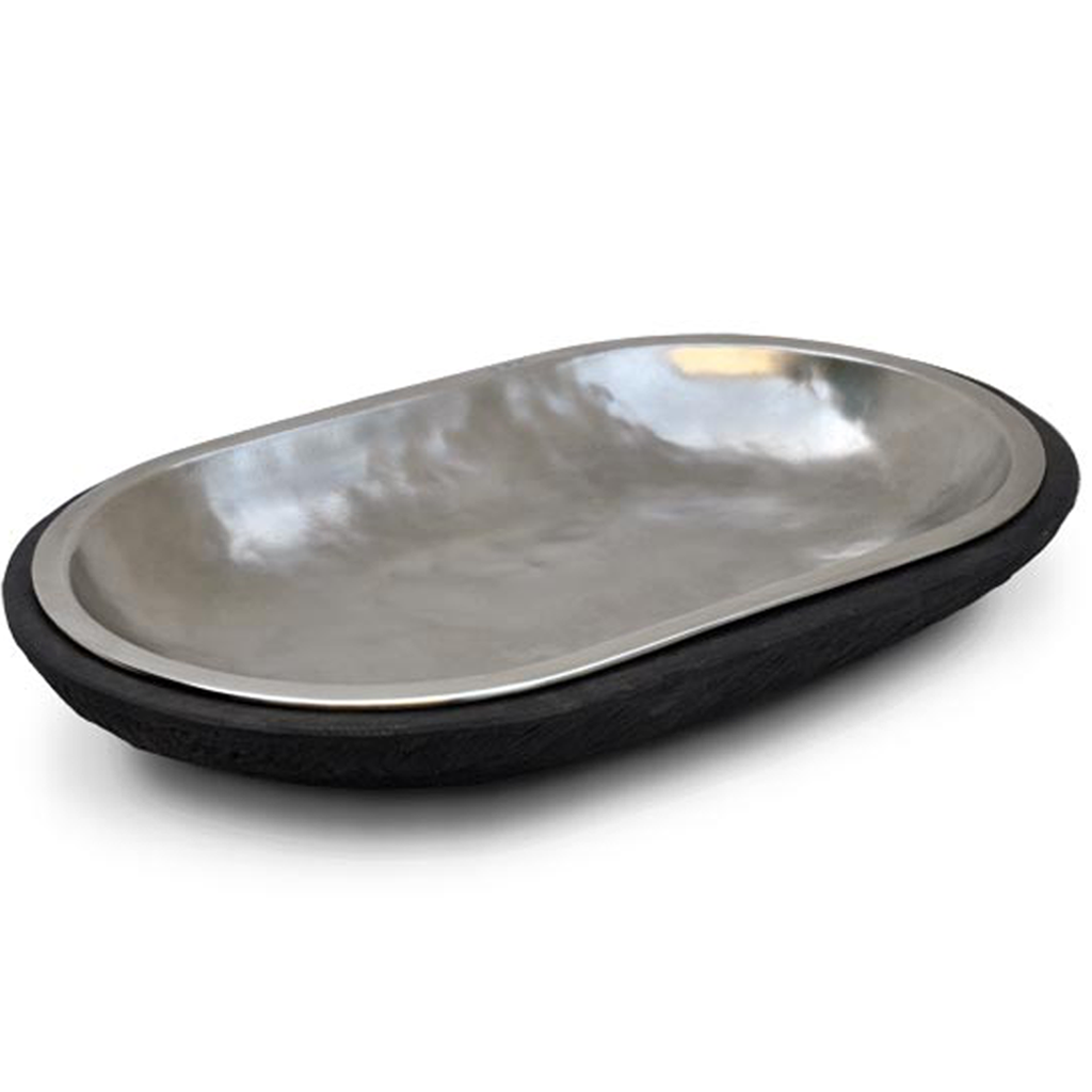 Blackened Wood and Pewter Oval Platter