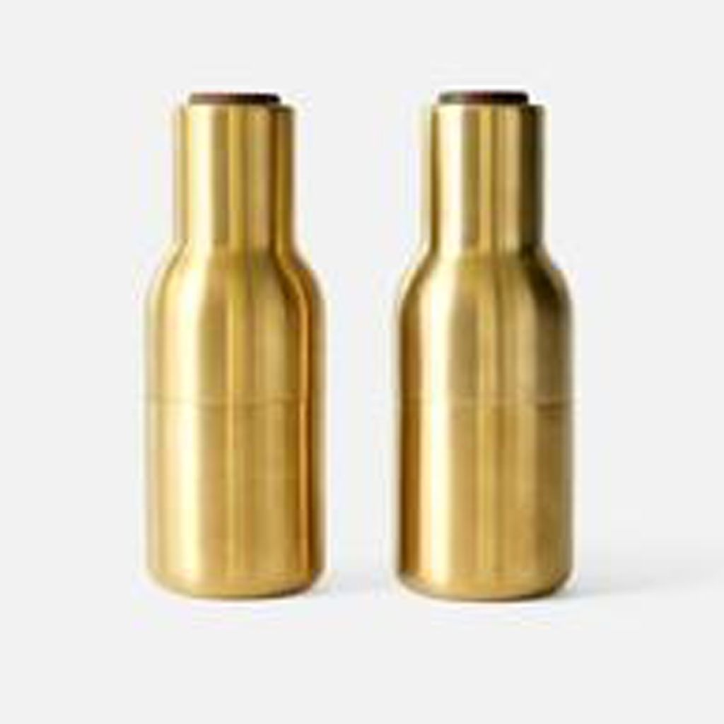 SALT + PEPPER BOTTLE GRINDERS in BRUSHED BRASS