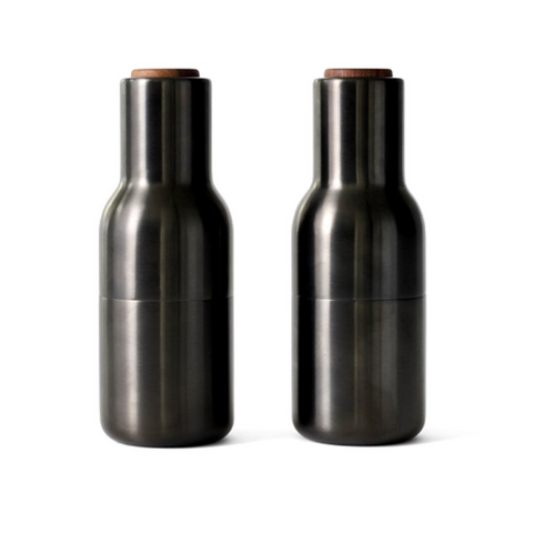SALT + PEPPER BOTTLE GRINDERS in BRONZED BRASS