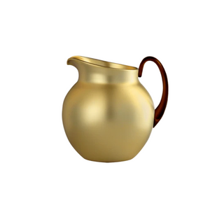 PLUTONE GLAZED PITCHER IN GOLD WITH AMBER HANDLE