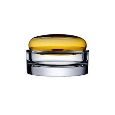 ECRIN MEDIUM LIDDED GLASS BOX IN AMBER