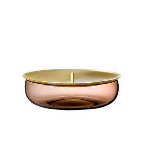 BERET LOW BOX IN CARAMEL GLASS AND BRASS