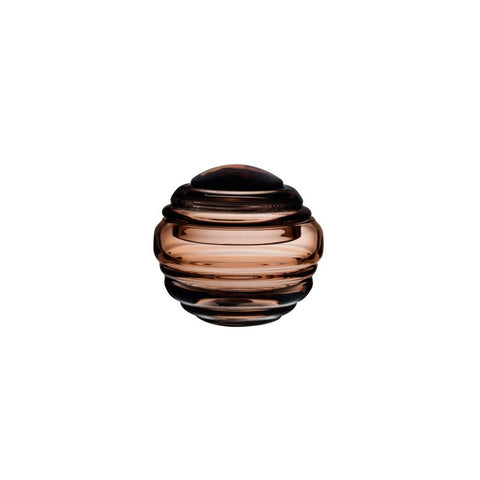 NEST SMALL ROUND GLASS BOX IN CARAMEL