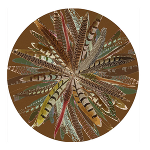 PEBBLE ROUND PLACEMAT IN PHEASANT FEATHERS BROWN