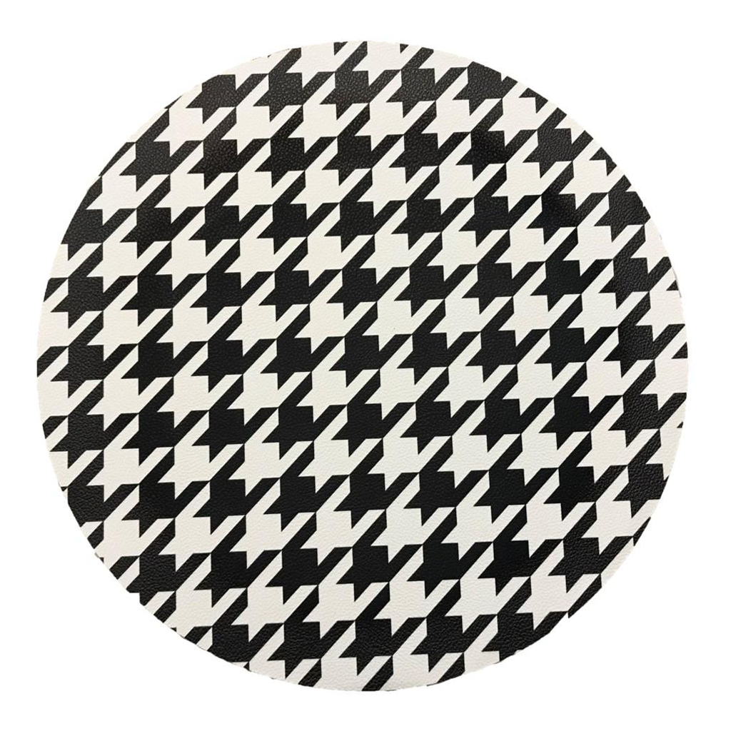 PEBBLE ROUND PLACEMAT IN BLACK & WHITE HOUNDSTOOTH