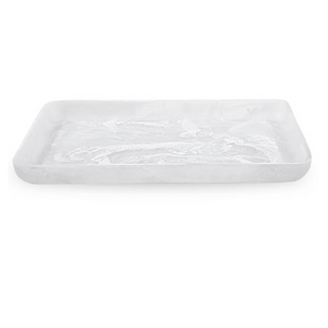 LARGE RECTANGULAR TRAY IN WHITE SWIRL
