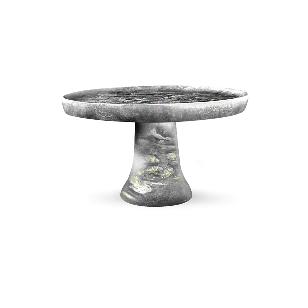 SMALL CAKE STAND IN BLACK SWIRL