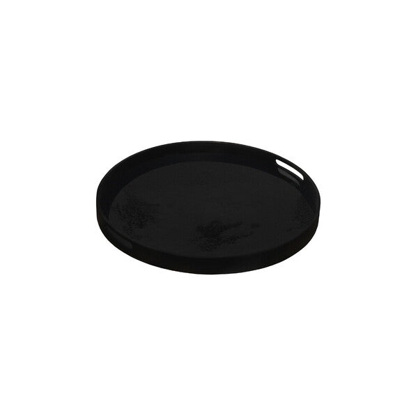 Charcoal Glass Round Tray