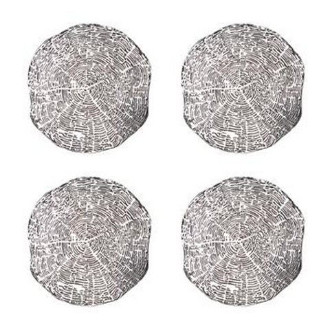 TIMBER COASTERS IN SILVER- Set of 4