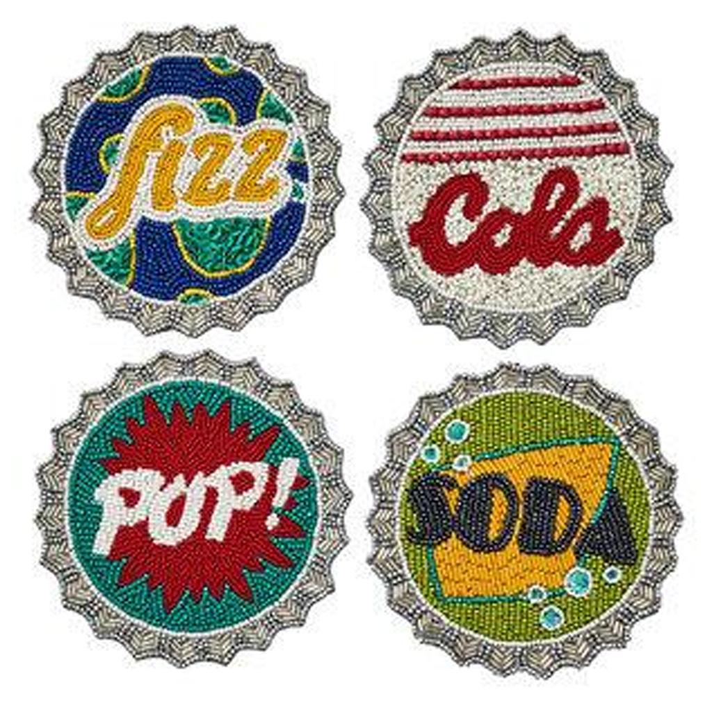 BOTTLE CAP COASTERS, SET OF 4
