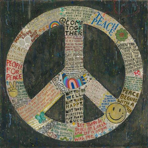 "PEACE SIGN ART PRINT - 12"" x 12"""