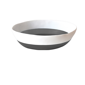 Wide Salad Bowl Grey and White
