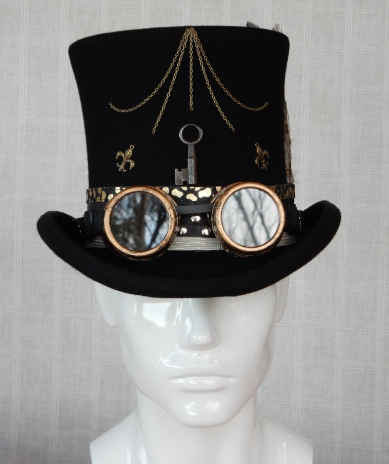 Steampunk Top Hat with Goggles 1 - Christine's Millinery