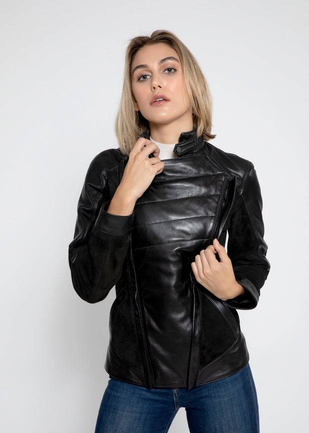 Womens Cosette Dual Panel Leather & Suede Jacket - FADCLOSET AU
