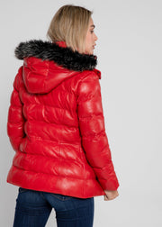 Women's Striking Puffer Arctic Red Down Leather Jacket with Fur - FADCLOSET AU
