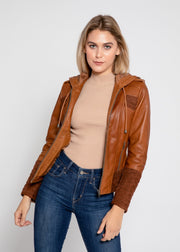 Arya Brown Suede Leather Womens Hooded Leather Jacket - FADCLOSET AU
