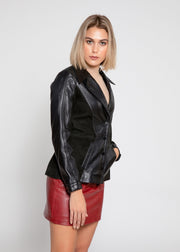 Womens Myrcella Suede Leather Blazer - FADCLOSET AU