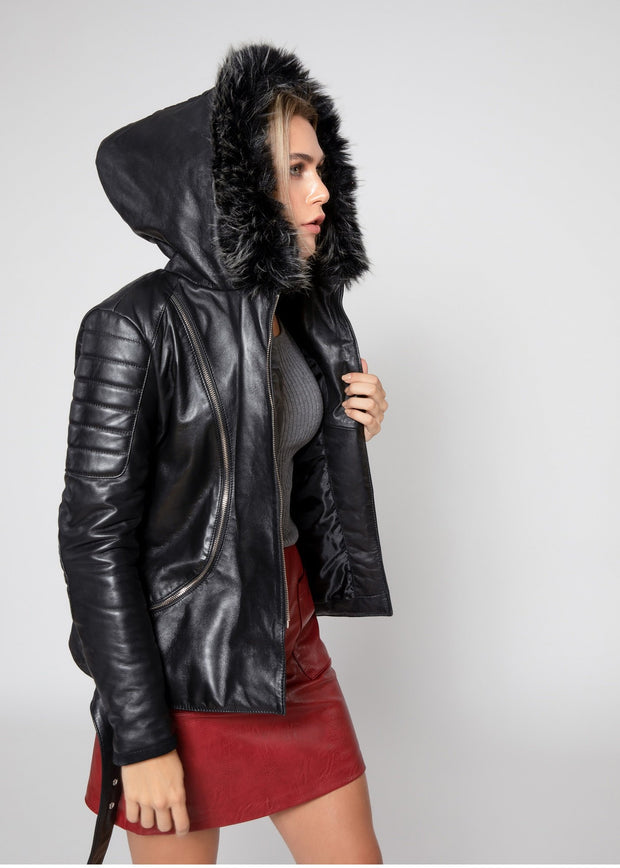 Women's Poseidon Leather Jacket with Fur Hoodie - FADCLOSET AU