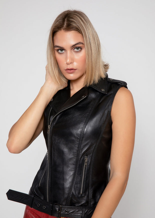 Womens Liana Leather Vest - FADCLOSET AU