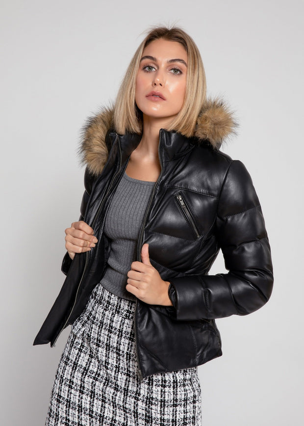 Women's Joselyn Black Puffer Winter Down Leather Jacket with Fur - FADCLOSET AU