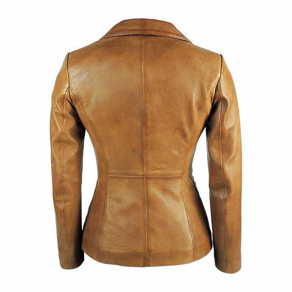 Womens Tapered Tan Leather Blazer - Awesome Lambskin - FADCLOSET AU