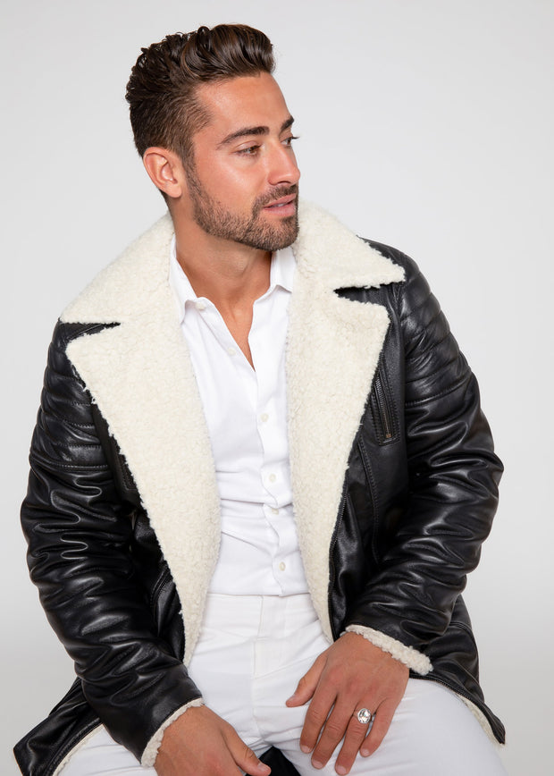 Men's Cosmo Shearling Curly Fur Leather Jacket - FADCLOSET AU