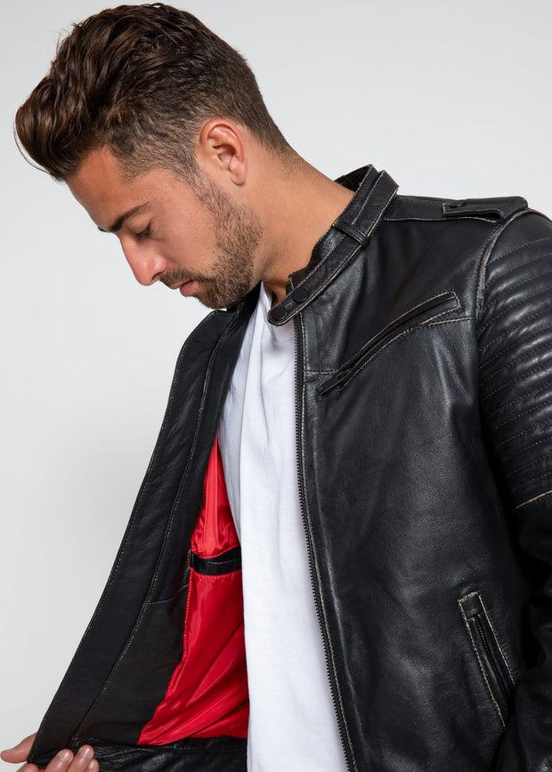 Mens Stark Distressed Leather Jacket - FADCLOSET AU
