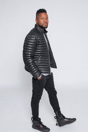 Men's Ultima Puffer Black Down Leather Jacket - Clearance - FADCLOSET AU