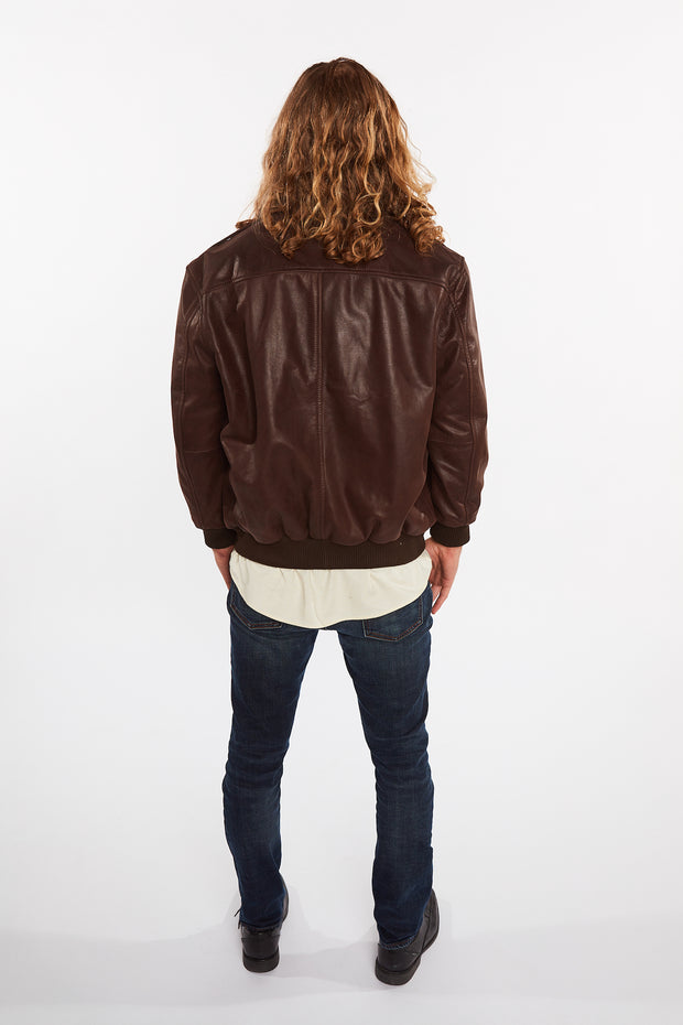 Men's Cowhide Bomber Flight Genuine Leather Jacket - FADCLOSET AU