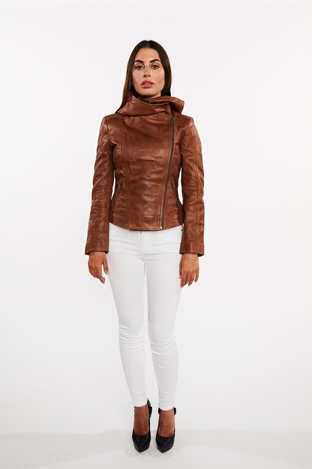 Sasha High Fashion Womens Hooded Leather Jacket - FADCLOSET AU