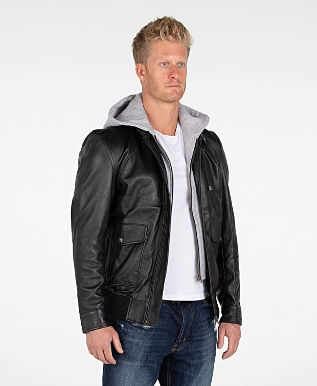 Men's Lambskin Hooded Leather Bomber Jacket - Clearance - FADCLOSET AU