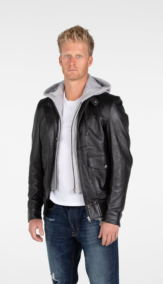 Men's Lambskin Hooded Leather Bomber Jacket - Discounted - FADCLOSET AU