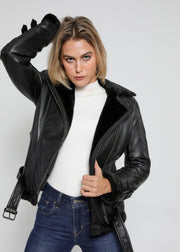 Women's Sylvia Black Shearling Fur Leather Jacket - FADCLOSET AU