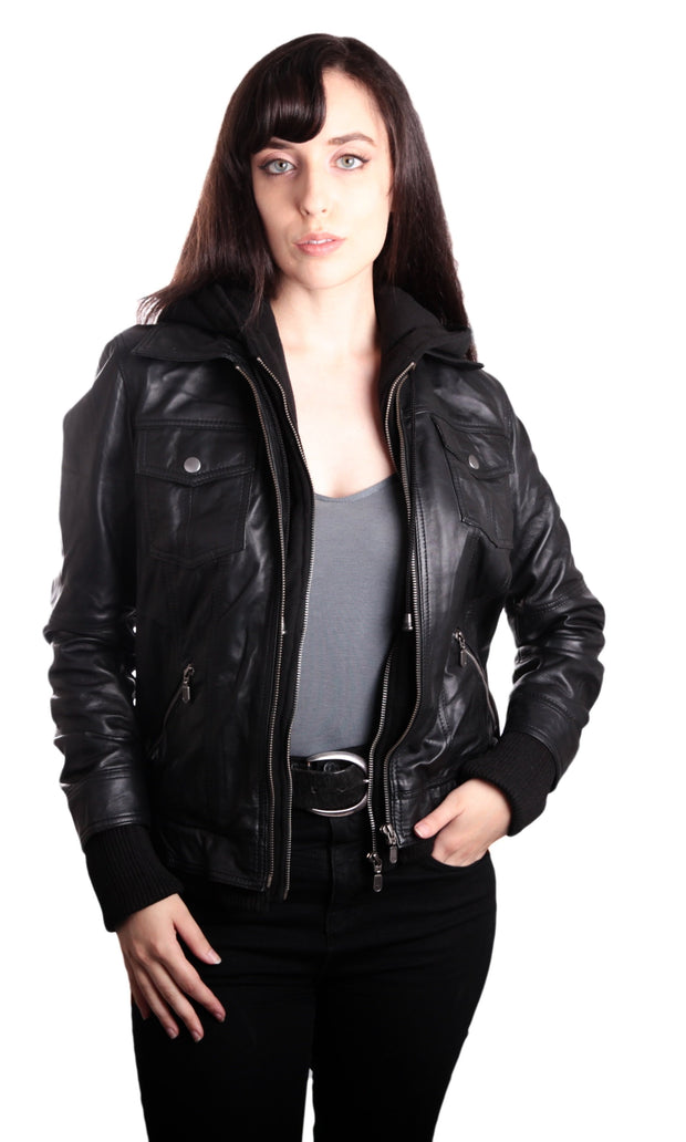 Hooded Bomber Womens Leather Jacket - Discounted! - FADCLOSET AU