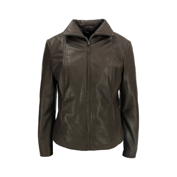 Ladies Vanessa Brown Leather Jacket - FADCLOSET AU